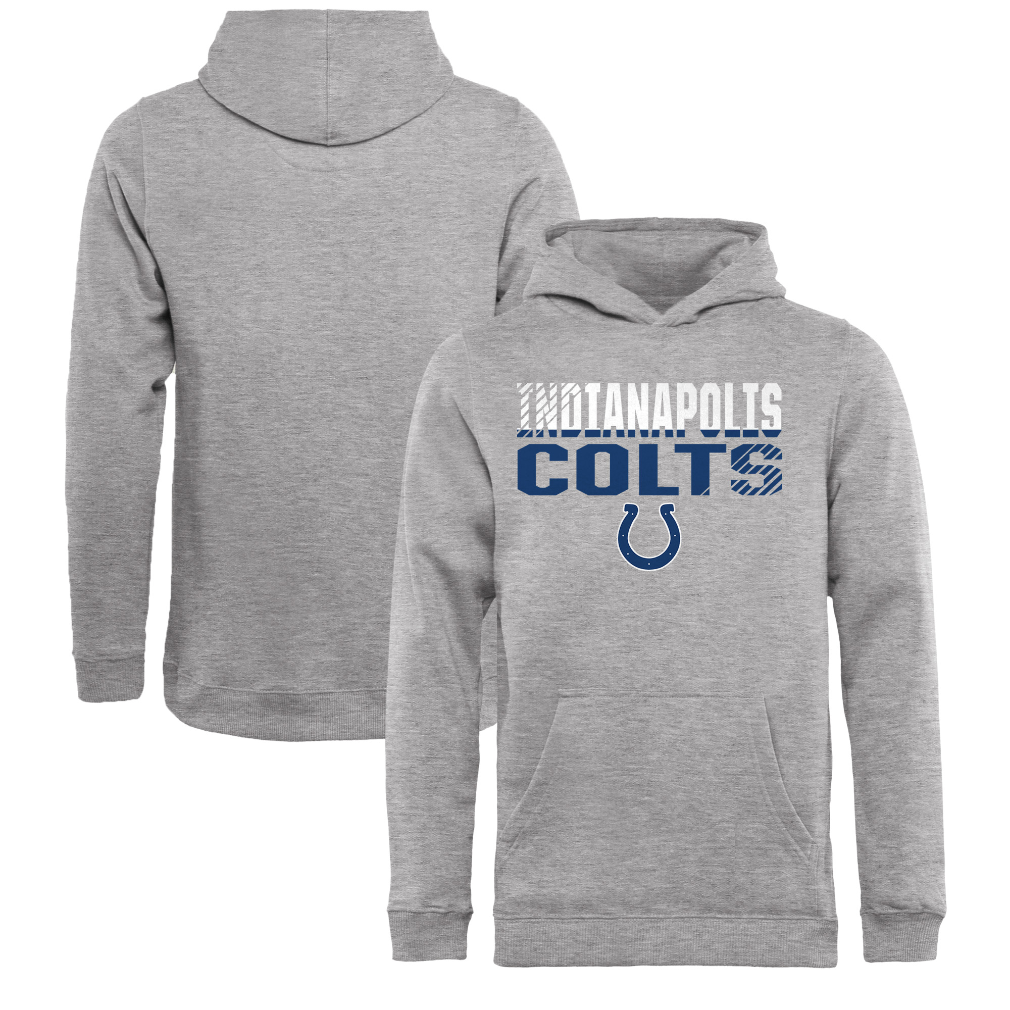 Indianapolis Colts NFL Pro Line by Fanatics Branded Youth Iconic Collection Fade Out Pullover Hoodie - Ash
