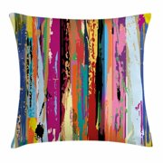 Abstract Throw Pillow Cushion Cover, Multicolored Expressionist Work of Art Vibrant Rainbow Design Tainted Pattern, Decorative Square Accent Pillow Case, 18 X 18 Inches, Multicolor, by Ambesonne
