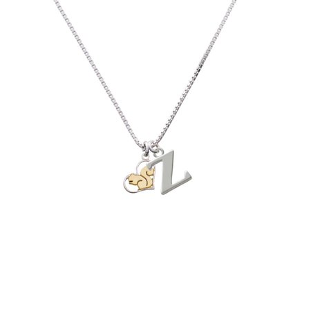 Two-tone Squirrel in Heart - Z - Initial Necklace