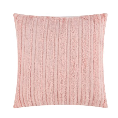 "Mainstays Cut Faux Fur Throw Pillow, 18"" x 18"", Blush"