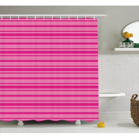 Hot Pink Shower Curtain, Horizontal Bold and Thin Stripes in Pink Tones Geometrical Classic Composition, Fabric Bathroom Set with Hooks, Pink Hot Pink, by Ambesonne