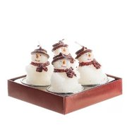 Snowman With Red Scarf Tea Light Candle Set Of 4