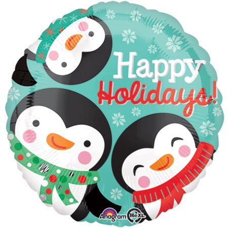 "Anagram Happy Holidays Winter Penguins Round 18"" Foil Balloon, Turquoise Black"