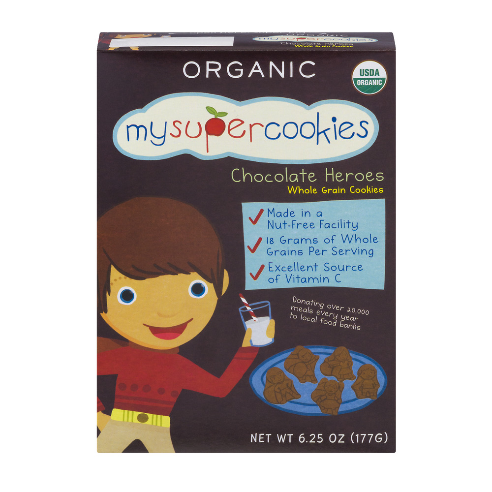 MySuperCookies Organic Chocolate Heroes Whole Grain Cookies, 6.25 OZ