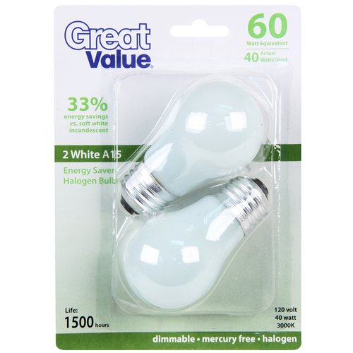 great value 40w halogen a15 light bulb white 2pk - A15 Bulb