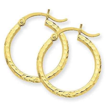 Primal Gold 14 Karat Yellow Gold Diamond-cut 2mm Round Tube Hoop covid 19 (2mm Round Tube Hoop Earrings coronavirus)