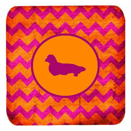 Dachshund Longhair Chevron Pink And Orange Foam Coasters, Set Of 4 - image 1 de 1