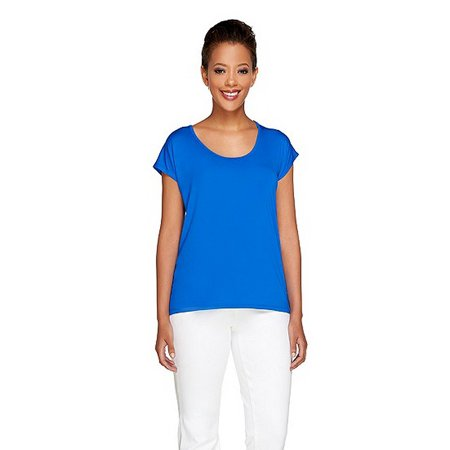 VIEW by WALTER BAKER Womens Short Sleeve Knit Top Cobalt Blue