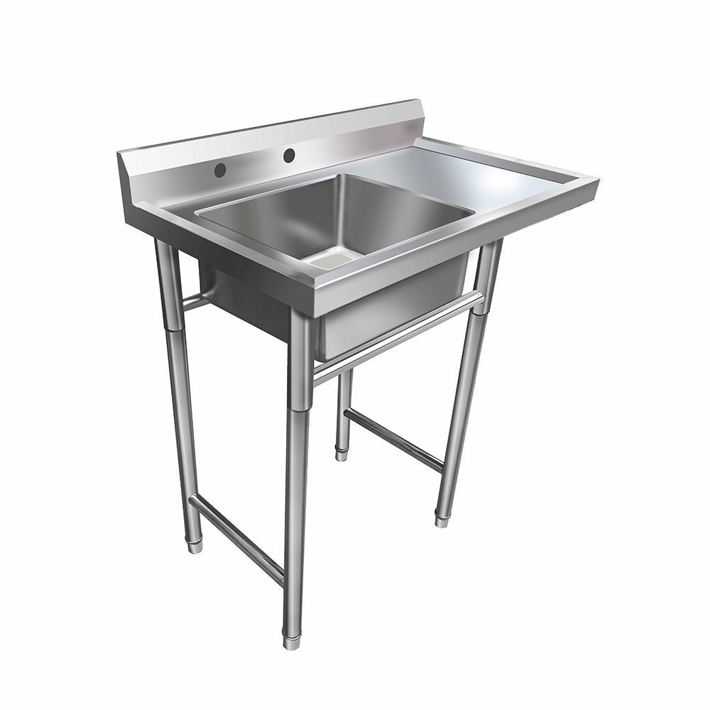 "UBesGoo 39"" 1 Compartment NSF Commercial Stainless Steel Sink, Heavy Duty Kitchen Prep Utility Laundry Sink, w/ Drainboard"