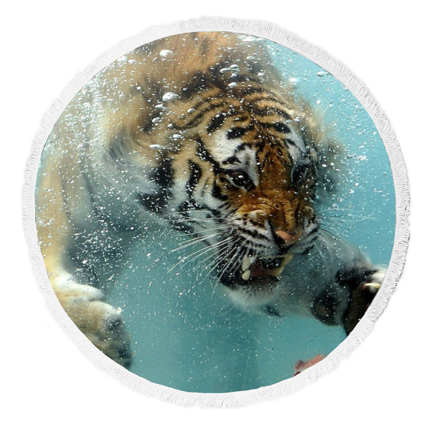 Yoga Towel Tiger: GCKG Fierce King Of Forest Tiger Swimming To A Meat Round