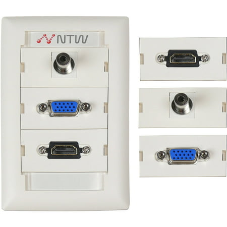 NTW Customizable UniMedia Wallplate and ID Tag with HDMI, VGA and 3.5mm Audio