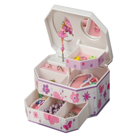 Mele & Co. Kelsey Glitter-Fly Musical Dancing Ballerina Jewelry Box - 7W x 3H in. Ballerina Treasure Music Box