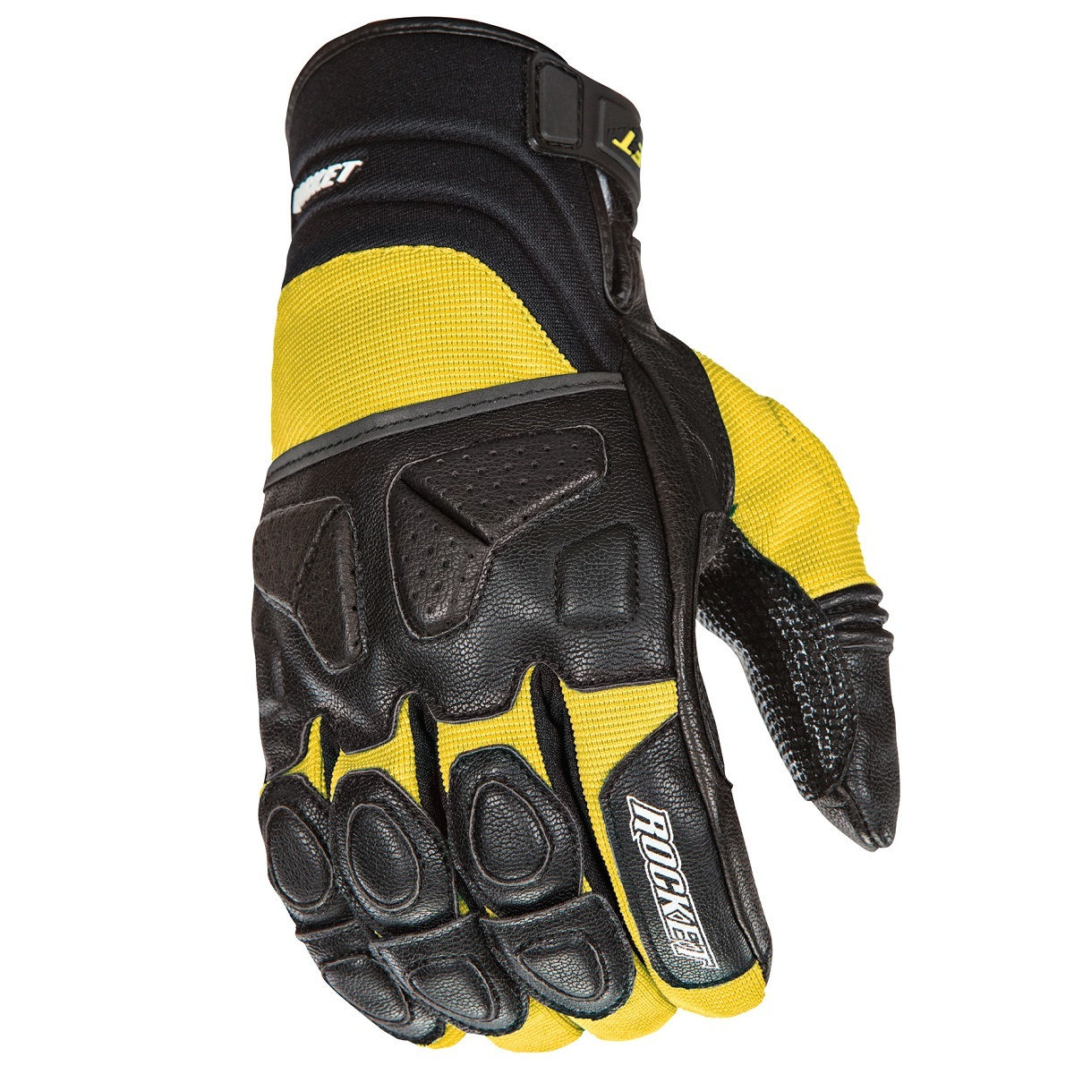 Joe Rocket Atomic X Mens Yellow/Black Leather Motorcycle Gloves