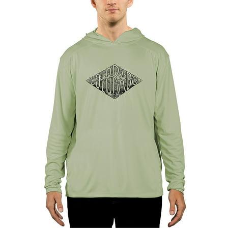 Meridian Line Colorado Crest - Black Men's UPF 50+ UV/Sun Protection Performance Hoody Long (Meridian Tee)