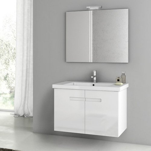 ACF by Nameeks ACF NY08-GW New York 32-in. Single Bathroom Vanity Set - Glossy White