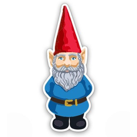 - Garden Gnome with Hat - Vinyl Sticker Waterproof Decal Sticker 5