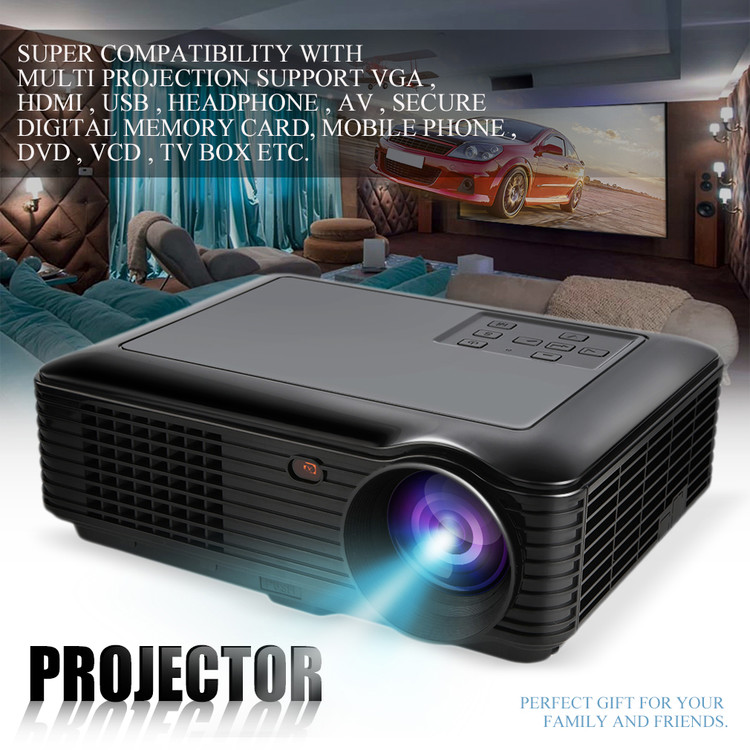 7000 Lumens LED Projector Home Theater Projector USB TV 3D HD 1080P Business VGA With HDMI by Cimiva