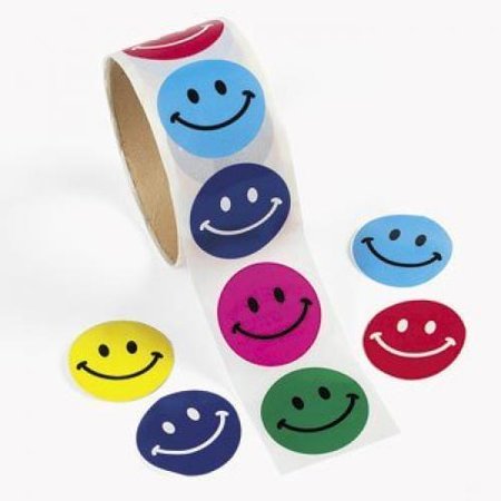 Sticker Rolls (Fun Express 100 Smile Face Roll Stickers (1)
