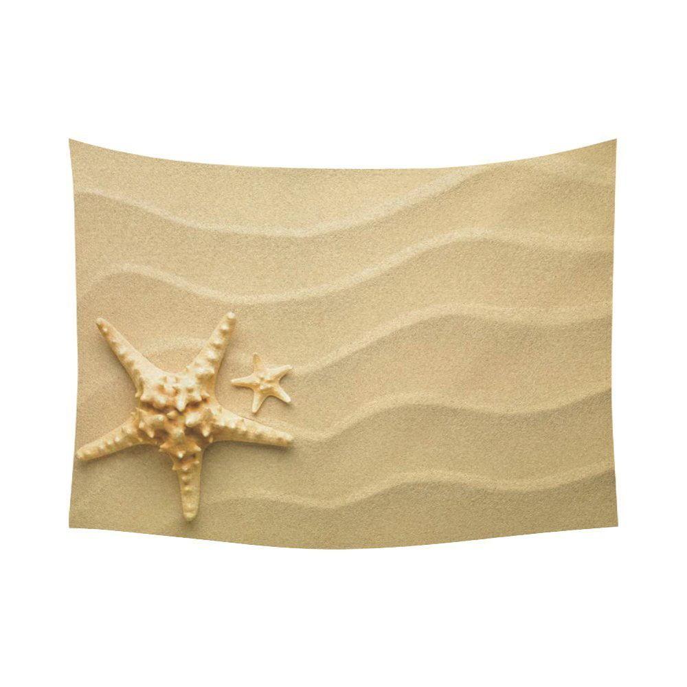 GCKG Yellow Starfish Beach Sand Tapestry Wall Hanging Seaside ...