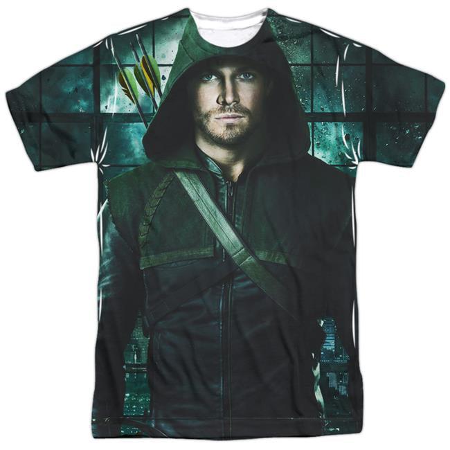 Arrow & Two Sides Front & Back Print-Short Sleeve Adult Poly Crew T-Shirt, White - Medium - image 1 de 1