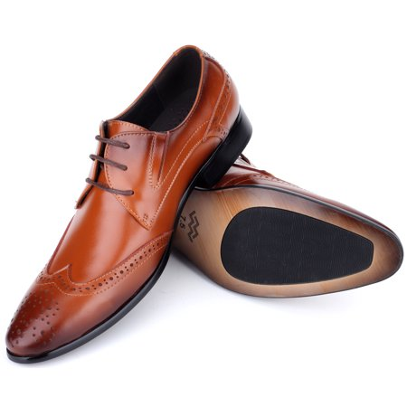 Mio Marino Mens Shoes, Oxford Dress Shoes, Genuine Leather in a Shoe Bag - Umber - Wingtip - 7 D (M) (Gucci Leather Oxford)