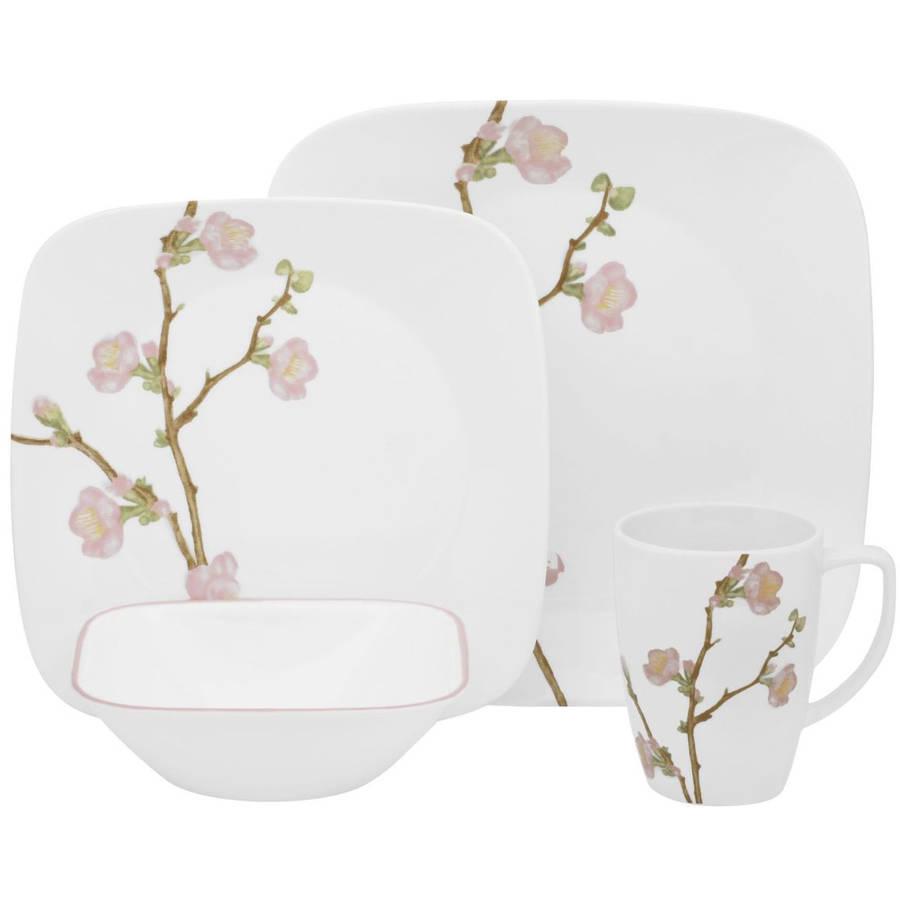Corelle Squares Cherry Blossom 16-Piece Dinnerware Set