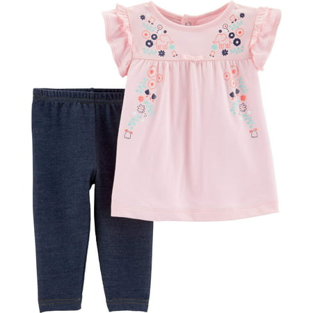 Child of Mine by Carter's Short Sleeve Babydoll Top & Leggings, 2-Piece Outfit Set (Baby Girls) - Short Girls Tube