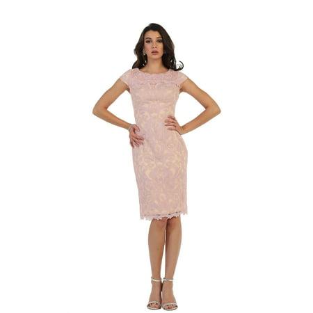 May Queen Modern Cap Sleeve Short Demure Lace Dress Plus Size