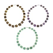 Pearlz Ocean Gemstone and Freshwater Pearl Necklace with Sterling Silver Clasp (7-8 mm) Amethyst and Freshwater Pearl Necklace