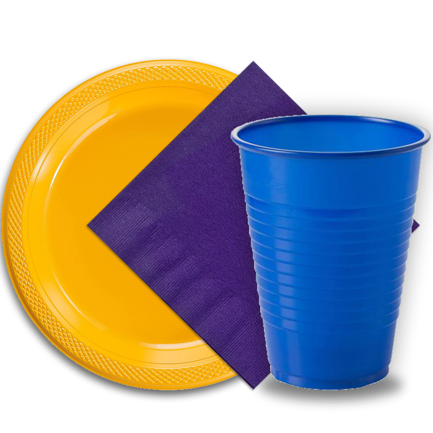 "50 Yellow Plastic Plates (9""), 50 Dark Blue Plastic Cups (12 oz.), and 50 Purple Paper Napkins, Dazzelling Colored Disposable Party Supplies Tableware Set for Fifty Guests."