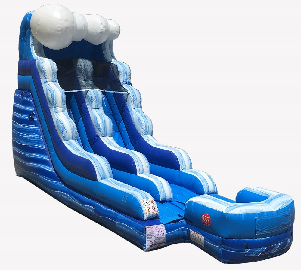 Pogo 15' Tidal Wave Commercial Kids Jumper Inflatable Waterslide with Blower by Pogo Bounce House