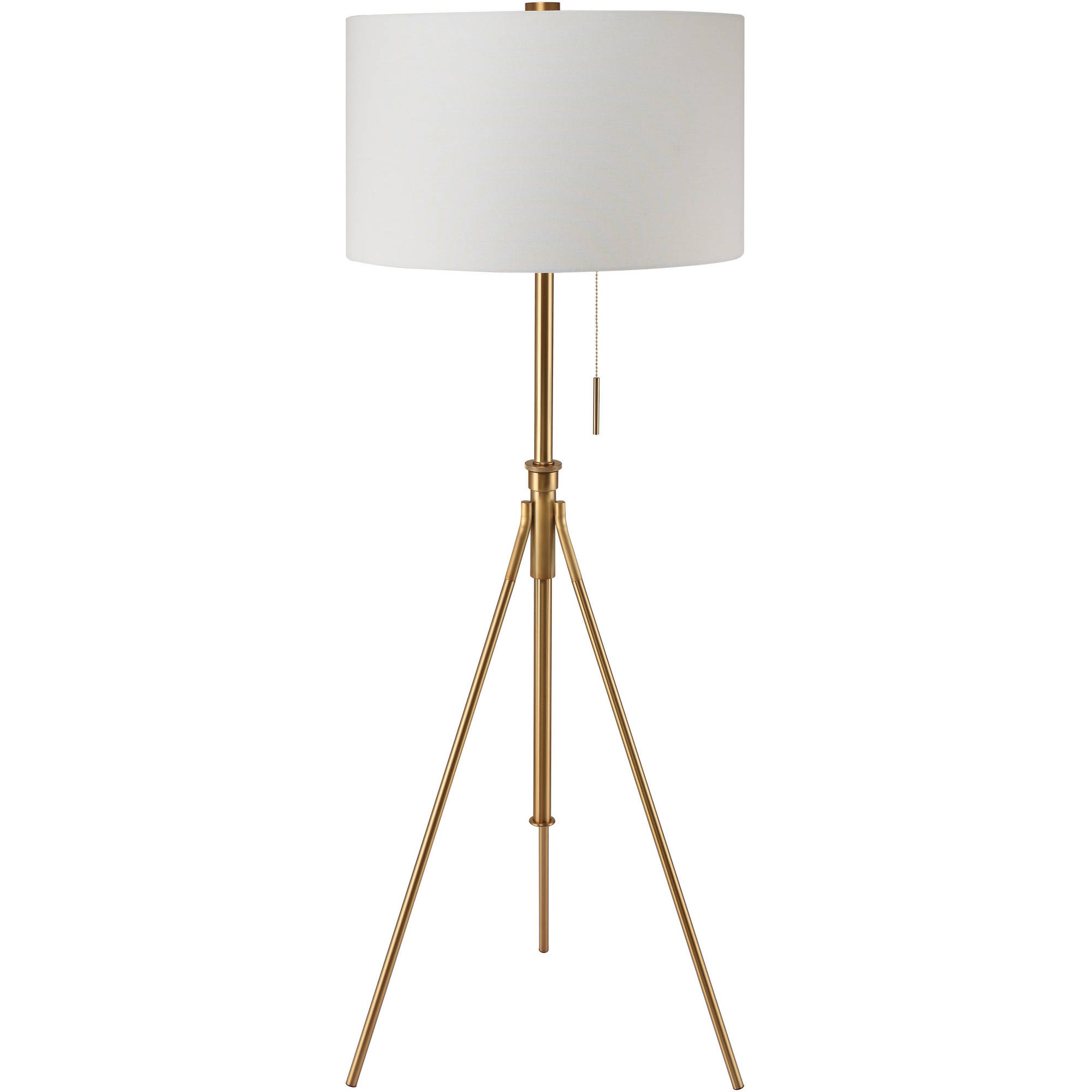 """58"""" to 72""""H Mid-Century Adjustable Tripod Gold Floor Lamp by Ore International"""