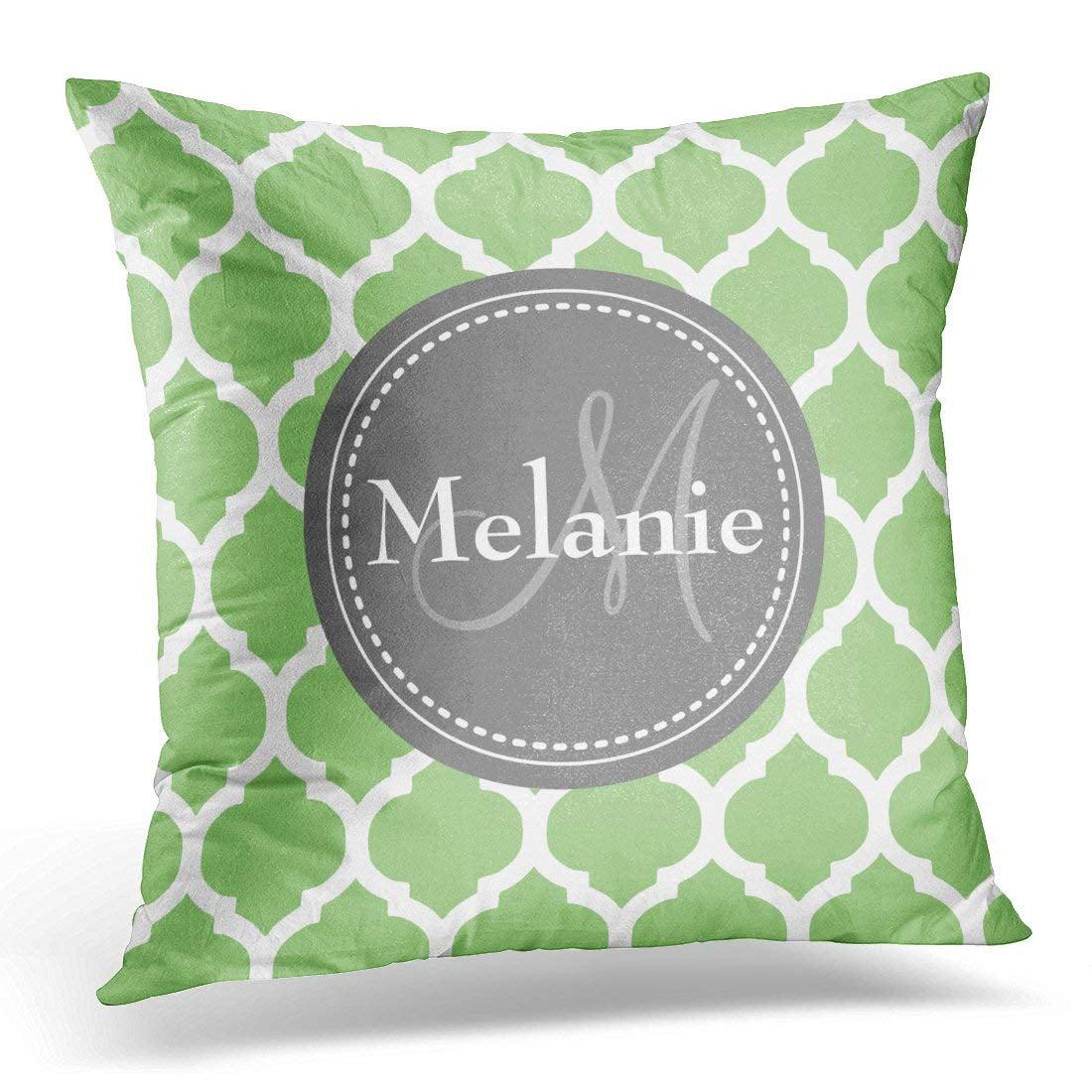 WOPOP Gray Cool Monogrammed Sage Green Quatrefoil White Pillowcase Cushion Cover 18x18 inches