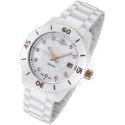 Oniss Paris  Womens Rose Gold Trim Diamond Accent Marker White Ceramic Watch