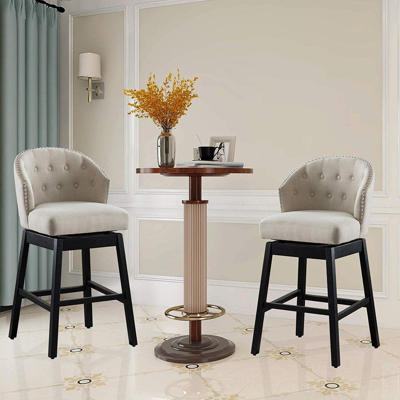 Vanity Art Kitchen Bar Stools Set of 2 Solid Wood Tufted ...
