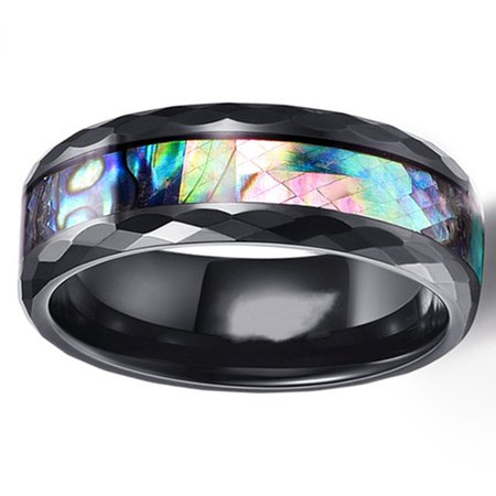 SHOPFIVE Tungsten Carbide Ring For Man Inlaid Shell Black Domed Menand#39;S Wedding Engagement Ring Us Size (Best Male Wedding Rings)