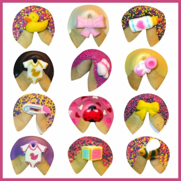 Baby Girl Chocolate Dipped Fortune Cookies by