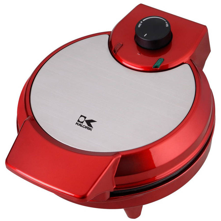 Kalorik Heart-Shaped Waffle Maker, Red Metallic