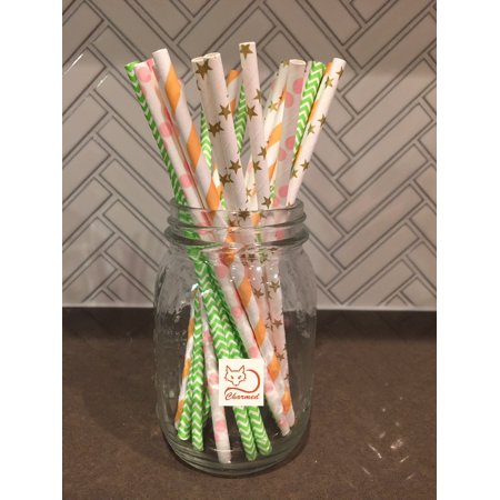 PEACH, MINT, PINK, AND GOLD PAPER STRAWS ASSORTMENT OF 100 COUNTS