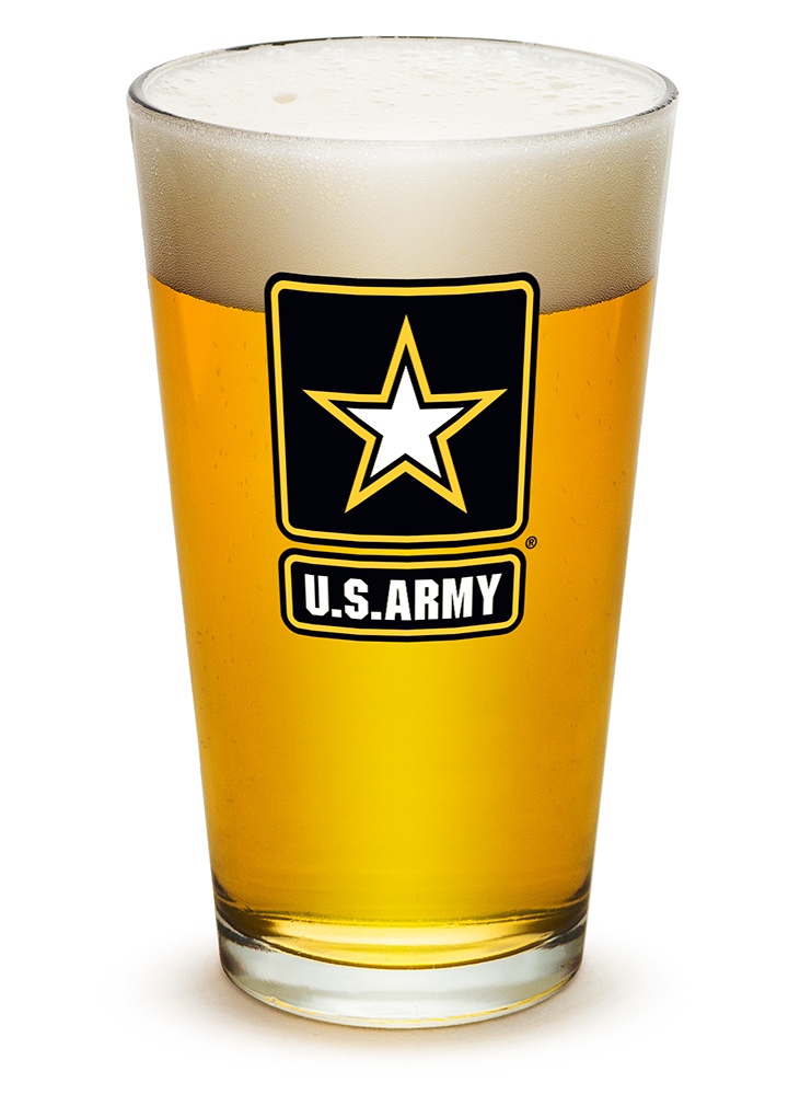 16 Ounces Pint Glass ARMY STAR LOGO, Case of 12 by Erazorbits