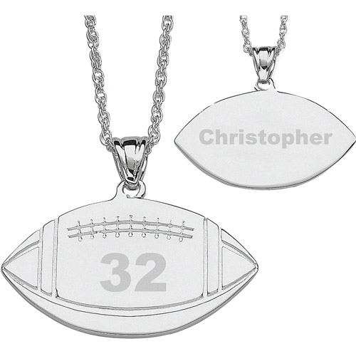 Personalized Silver-Tone Football Necklace