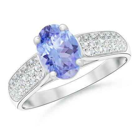 December Birthstone Ring - Solitaire Oval Tanzanite Ring with Pave Diamond Accents in Platinum (8x6mm Tanzanite) - SR0219T-PT-A-8x6-5.5