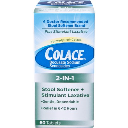 Colace 2-IN-1 Stool Softener & Stimulant Laxative Tablets, 60 Count, Gentle Constipation Relief in 6-12