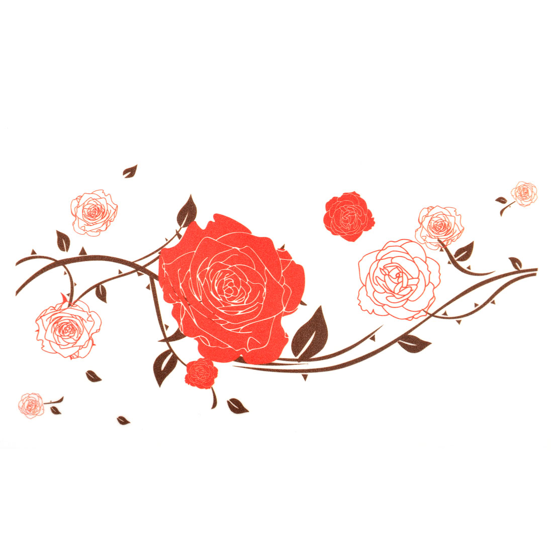 Living Room Blooming Rose Pattern Wall Sticker Decal Mural 90 x 60cm