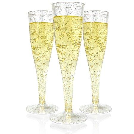 Host & Porter Gold Glitter Plastic Champagne Flutes, 5oz, 50