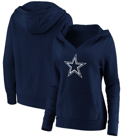 Dallas Cowboys NFL Pro Line by Fanatics Branded Women's Primary Team Logo V-Neck Pullover Hoodie - Navy