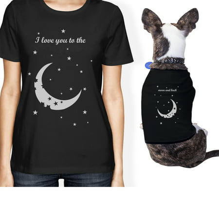 Moon And Back Small Pet Owner Matching Gift Outfits Black - Pet Outfit