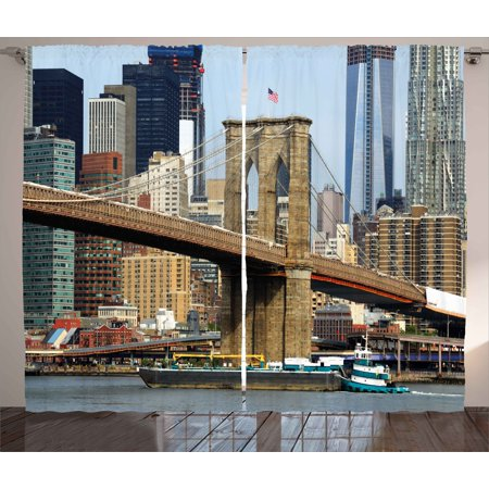 Urban Curtains 2 Panels Set, Skyline of Brooklyn New York USA Cityscape Bridge Buildings and River Coastal Scenery, Window Drapes for Living Room Bedroom, 108W X 84L Inches, Multicolor, by Ambesonne ()