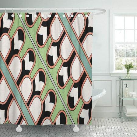 SUTTOM Teal Antique Vintage Assyrian Geometric Pattern Mint Shower Curtain 66x72 inch