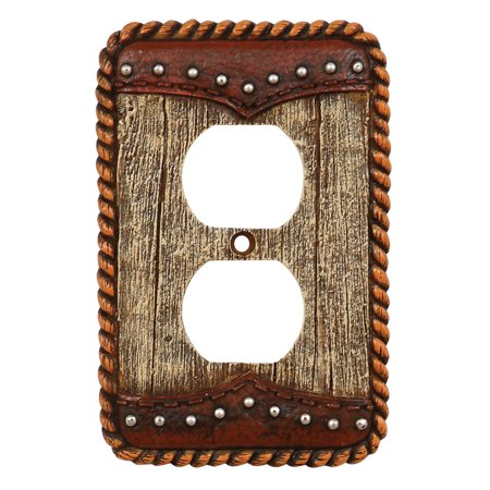 Barnwood & Leather Rustic Outlet Cover - Cabin  Decor